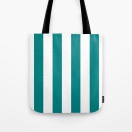 Vertical Stripes - White and Dark Cyan Tote Bag