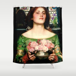 "John William Waterhouse ""Gather Ye Rosebuds While Ye May"" Shower Curtain"