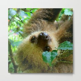 Poly Animals - Sloth Metal Print
