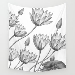Water Lily Black And White Wall Tapestry