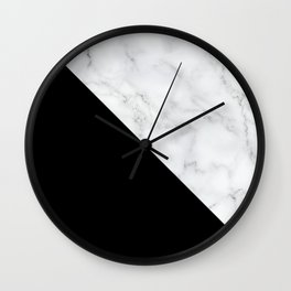 Marble Black and White Abstract Color Block Wall Clock
