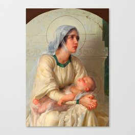 Madonna and Child Jesus with Angels Virgin Mary Art Canvas Print