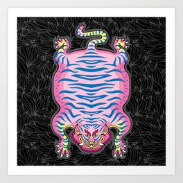 TIBETAN TIGER - CANDY (black) Art Print
