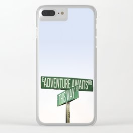 Road Sign Adventure Awaits Clear iPhone Case