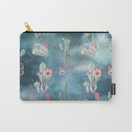 Potted Cactus and Succulents Rose Gold Night Sky Carry-All Pouch