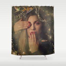 woman portrait and kolibri Shower Curtain