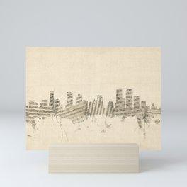 Denver Colorado Skyline Sheet Music Cityscape Mini Art Print