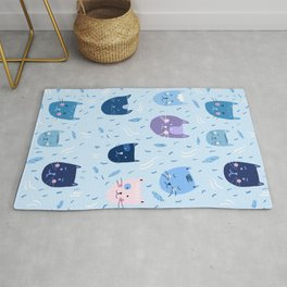 Little blue cats Rug