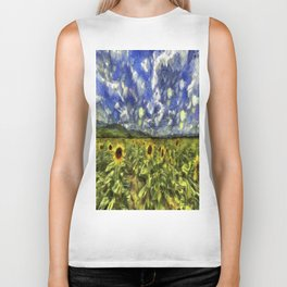 Summer Sunflowers Van Gogh Biker Tank