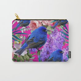 Tropical Fuchsia Wildlife Blue Birds Floral Art Carry-All Pouch
