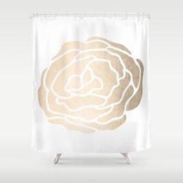 Rose White Gold Sands on White Shower Curtain