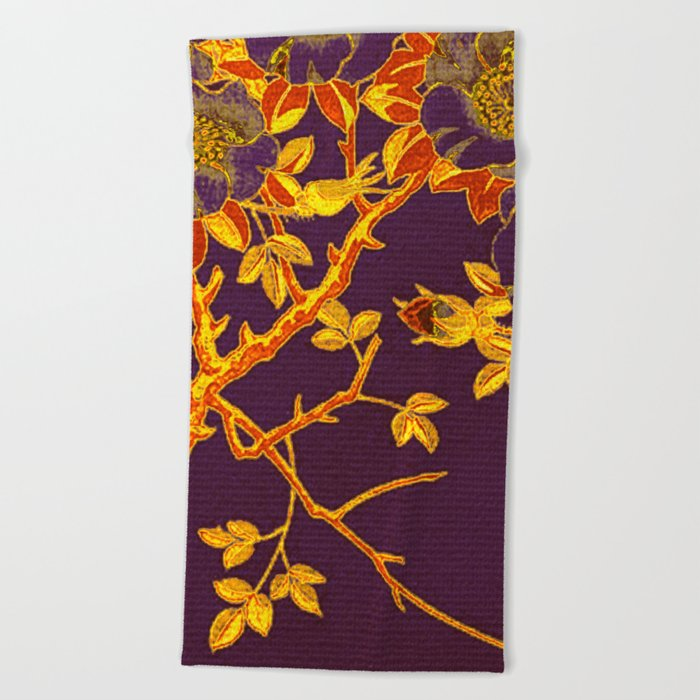 rich floral on purple Beach Towel