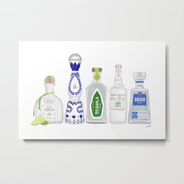 Tequila Bottles Illustration Metal Print
