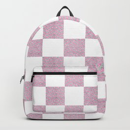 Elegant pink glitter chevron checkers pattern Backpack