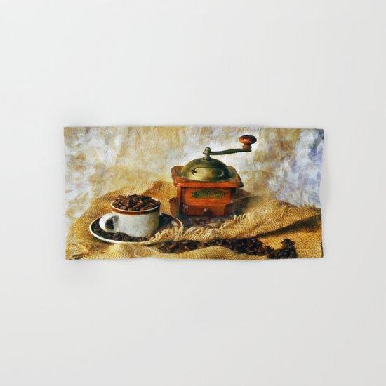 Coffee Grinder and Coffee Cup Hand & Bath Towel