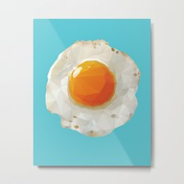Fried Egg Polygon Art Metal Print