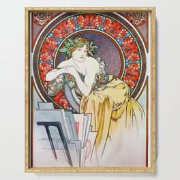 """Alphonse Mucha """"Girl With Easel"""" Serving Tray"""