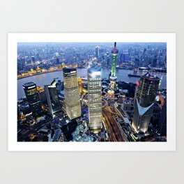 Shanghai By Night Art Print