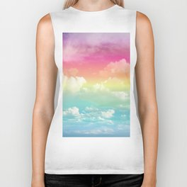 Clouds in a Rainbow Unicorn Sky Biker Tank