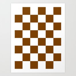 Large Checkered - White and Chocolate Brown Art Print