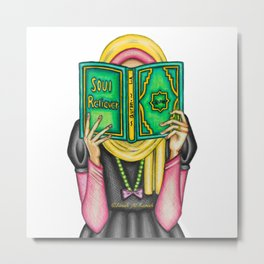 Hijabi Reading Quran Metal Print