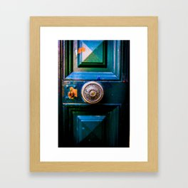 Old door and latch Framed Art Print