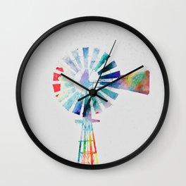 Colorful Windmill Wall Clock