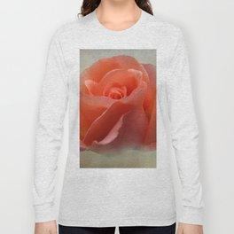 Romantic Peachy Rose Floral Long Sleeve T-shirt