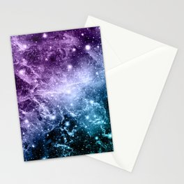Purple Teal Galaxy Nebula Dream #4 #decor #art #society6 Stationery Cards