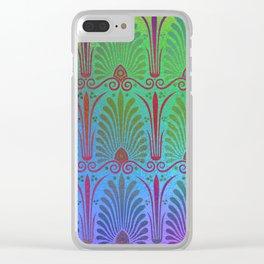 Art nouveau pattern, ombre color, rainbow metallic, modern Clear iPhone Case