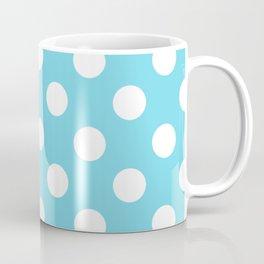 Sky blue (Crayola) - heavenly - White Polka Dots - Pois Pattern Coffee Mug