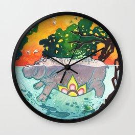 Magical Hippo Garden Wall Clock