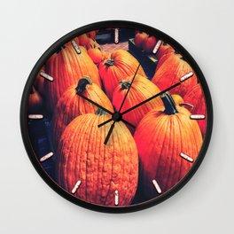 Pumpkins on a Pallet Wall Clock