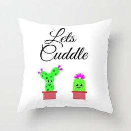 Lets Cuddle Cactus Throw Pillow