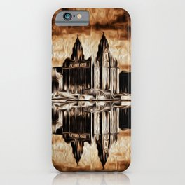 Liverpool Water front Skyline (Digital Art) iPhone Case
