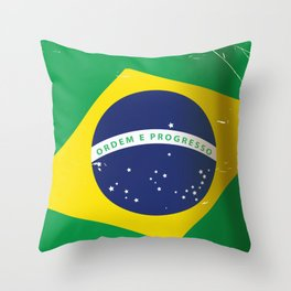 Brasil Nation flag travel poster Throw Pillow