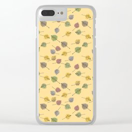 Colorado Aspen Tree Leaves Hand-painted Watercolors in Golden Autumn Shades on Butter Yellow Clear iPhone Case