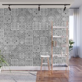 MOROCCAN TILE GRUNGE BLACK Wall Mural