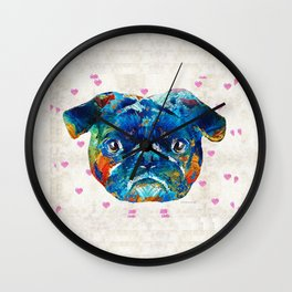 Pug Love Dog Art by Sharon Cummings Wall Clock