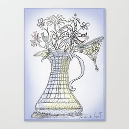 Pitcher with Flowering Plants (blue) Canvas Print