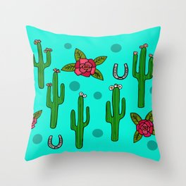 Cactus Rose in The Desert Throw Pillow