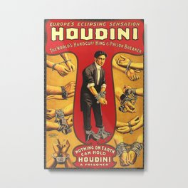Houdini, vintage theater poster, color Metal Print