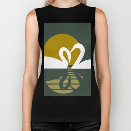 Swans at Sunset Biker Tank