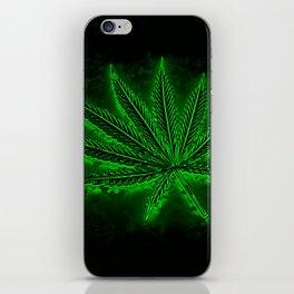 glowing hemp leaf iPhone Skin