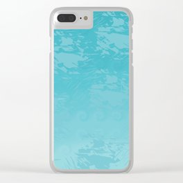 Icy Blue Abstract Clear iPhone Case