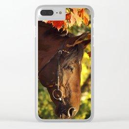 autumn horse Clear iPhone Case
