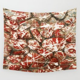 Red Paint Abstract Drip Stones AKA Pollock Wall Tapestry