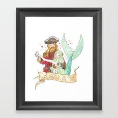 Valentine Mermaid and Pirate Framed Art Print