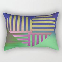 Decorative Blue Green Gold V Heart Pattern Rectangular Pillow