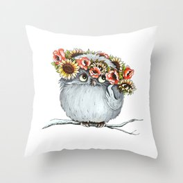 Owl and flowers Throw Pillow